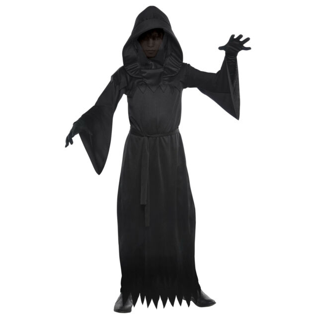 BOYS DEATH GRIM REAPER FANCY DRESS COSTUME HALLOWEEN OUTFIT ROBE CHILDS KIDS