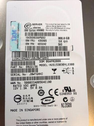 "IBM 300gb 3.5/"" Hard Drive 43X0802 Sas Internal 15K 43X0805 42C0242"