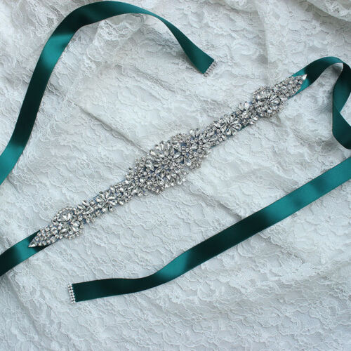 Bling Crystal Satin Wedding Dress Belt Bridal Ribbon Sash Belt for Evening Prom