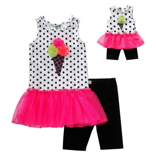 Dollie Me Girl 10-12 and Doll Matching Pink Dot Tutu Dress Outfit American Girl