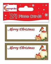 24 gold robin christmas xmas party table number name place cards settings dinner