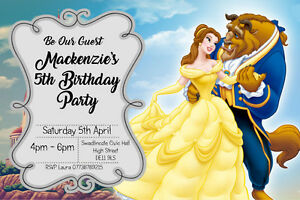 envelopes BB V7 Personalised Belle Beauty and the Beast Birthday Party Invites