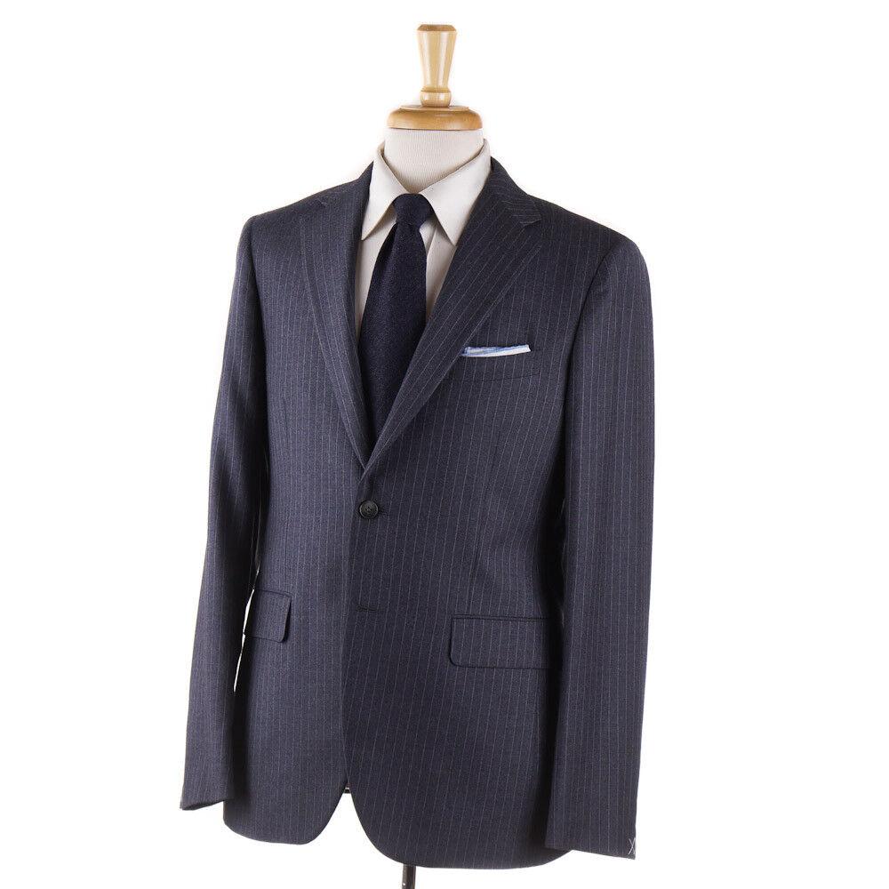 NWT 1795 BOGLIOLI Slate Blau-grau Chalk Stripe Wool Suit Slim 40 R (Eu 50)