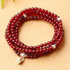 "216 3mm A Grade Wine Red  Garnet Beads Prayer Bracelet 27"""