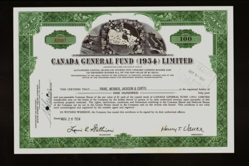 Canada General Fund Limited Toronto Ontario dd 1954 iss Paine Webber 1954