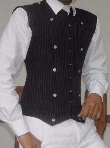 Frontali Gessato Up 7xl Bones Vest Lace Man ~ Acciaio Corsetto Bottoni Black S in metallo 1wntqZ5n