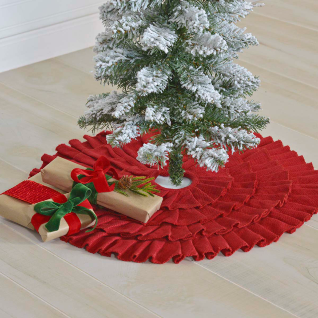 21 Ruffled Red Burlap Christmas Tree Skirt By Vhc Brands