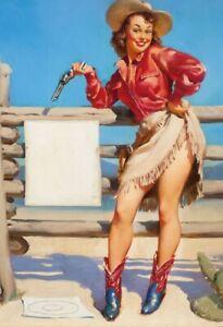 Cowgirl-amp-Colt-Pin-Up-Girl-Letrero-de-Metal-Arqueado-Tin-Sign-20-X-30CM