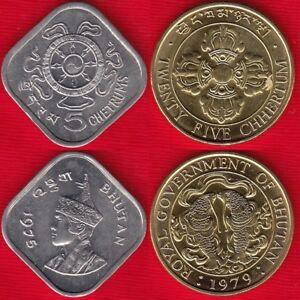 Bhutan-set-of-2-coins-5-25-chetrums-1975-1979-UNC