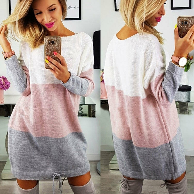 Femme Hiver Pull Tricot Gris Pull Haut Tricot Tricot Haut Pull Long Haut Robe 9a2405