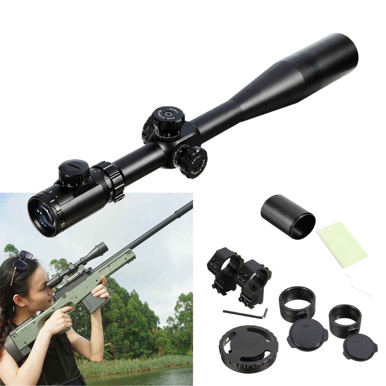 ZOS10-40x50 SFE IR SWAT Extreme Tactical Reticle Telescope Rifle Scope
