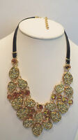 Joan Rivers Simulated Drusy Bib 18 Necklace W/3 Extender Goldtone