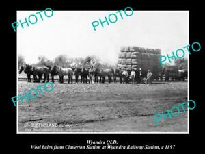 OLD-POSTCARD-SIZE-PHOTO-OF-WYANDRA-QLD-WOOL-BALES-AT-THE-RAILWAY-STATION-1897