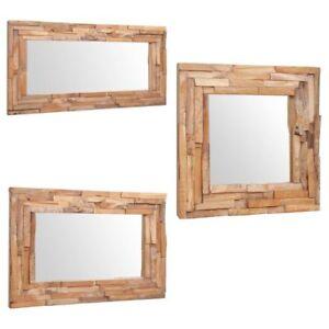 vidaXL-Teak-Dekorativer-Spiegel-Holzspiegel-Wandspiegel-mehrere-Auswahl