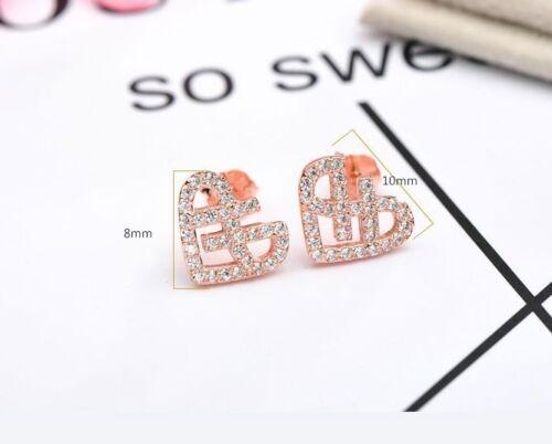 Rhodium Rose Gold Heart Stud Earrings Cubic Zirconia Sterling Silver Gift PE18