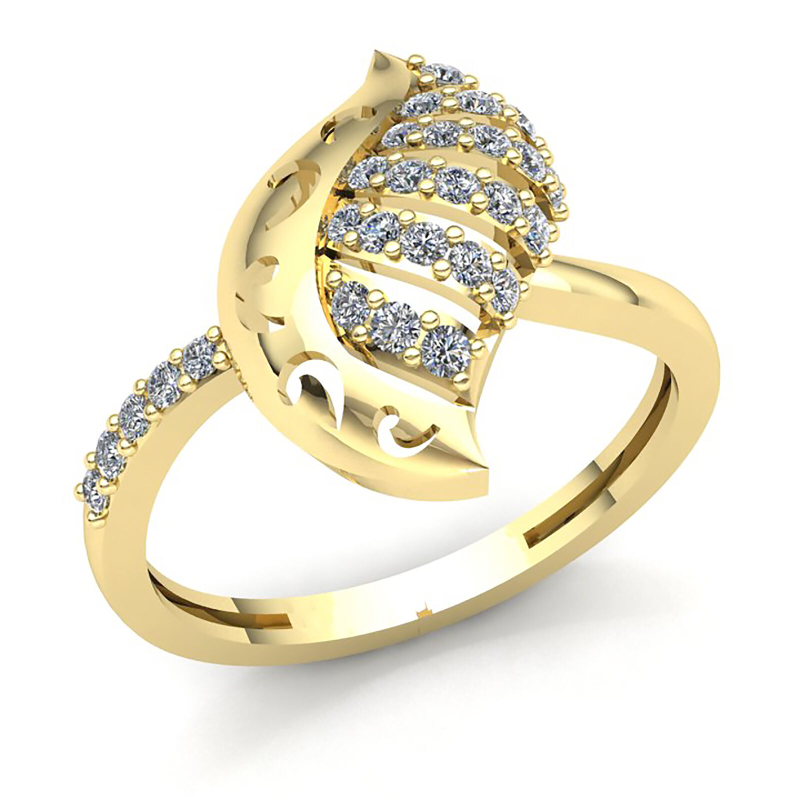 Natural 0.75ctw Round Cut Diamond Ladies Fancy Ring Solid 14K gold