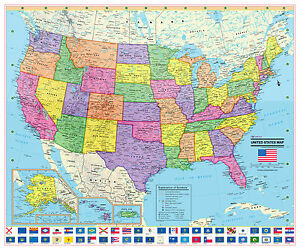 Coolowlmaps United States Wall Map Poster 24x20 Usa Flags - Us-map-poster