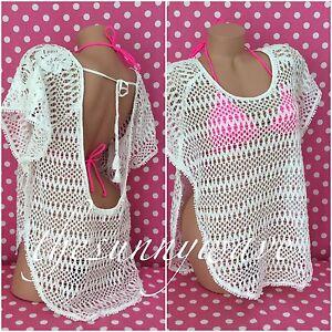 a5bb53356a VICTORIA'S SECRET Caftan Crochet Lace Flounce Plunge Back Cover Up ...