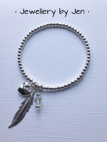 Silver Plated Stretch Bracelet Heart Feather /& Crystal Stacking Handmade