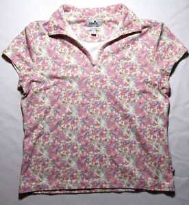 Ashworth-Womens-Golf-Shirt-Short-Sleeve-Collared-Flowers-Floral-Pink-Print-Large