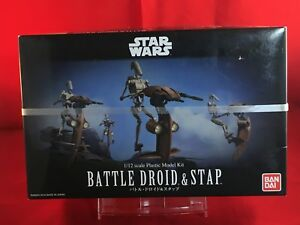 BANDAI-1-12-BATTLE-DROID-e-con-cinturino-Star-Wars-Kit-Modellino-in-plastica