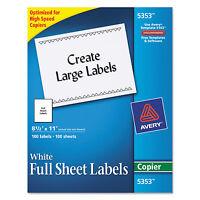 Avery Copier Full-sheet Labels 8 1/2 X 11 White 100/box 5353