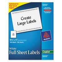 Avery Copier Full-sheet Labels 8 1/2 X 11 White 100/box 5353 on sale