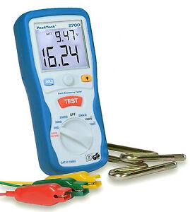 3 1//2 chiffres Peaktech 2700 numérique mise à la terre couteau//Earth resistance testeur
