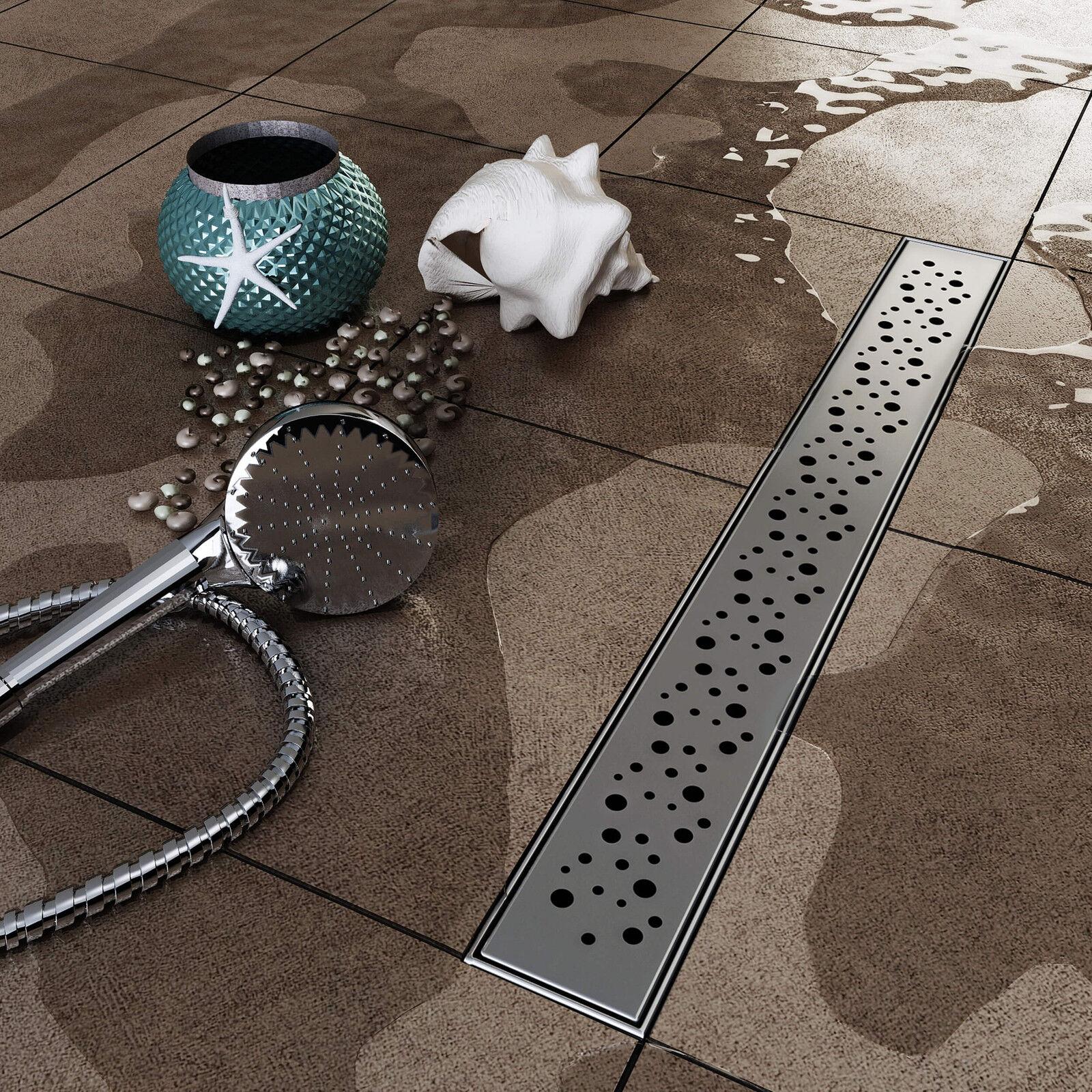 VILSTEIN© Duschrinne Edelstahl Ablaufrinne Bodenablauf Duschablauf Kreise