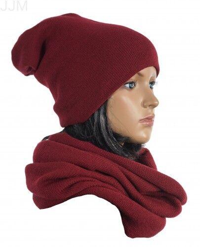 Damen Set Mütze Loopschal Winter Onesize 2teilig Warm Schwarz Türkis Creme
