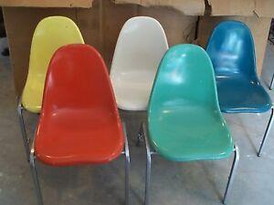 lot of 4 eames era fiberglass shell chair you choose color techfab