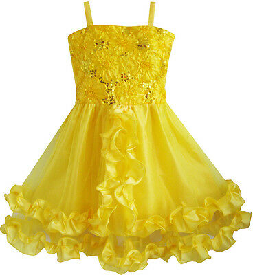 Flower Girl Dress Yellow Shinning Sequins Wedding Party Pageant Size 4-10 Formal