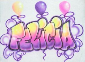 Image Is Loading Airbrushed Birthday Balloons Personalized Bubble Name T Shirt