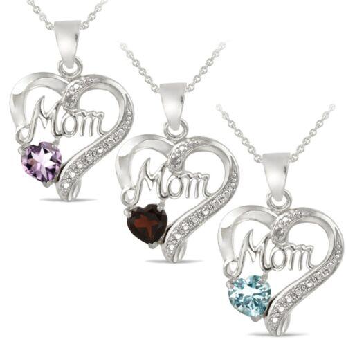 Argent Sterling Gemme /& Diamant Accent Maman Collier Coeur