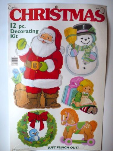 PUNCH OUT DIE CUTS SEALED PAPER MAGIC NICE VINTAGE EUREKA CHRISTMAS 12 PC