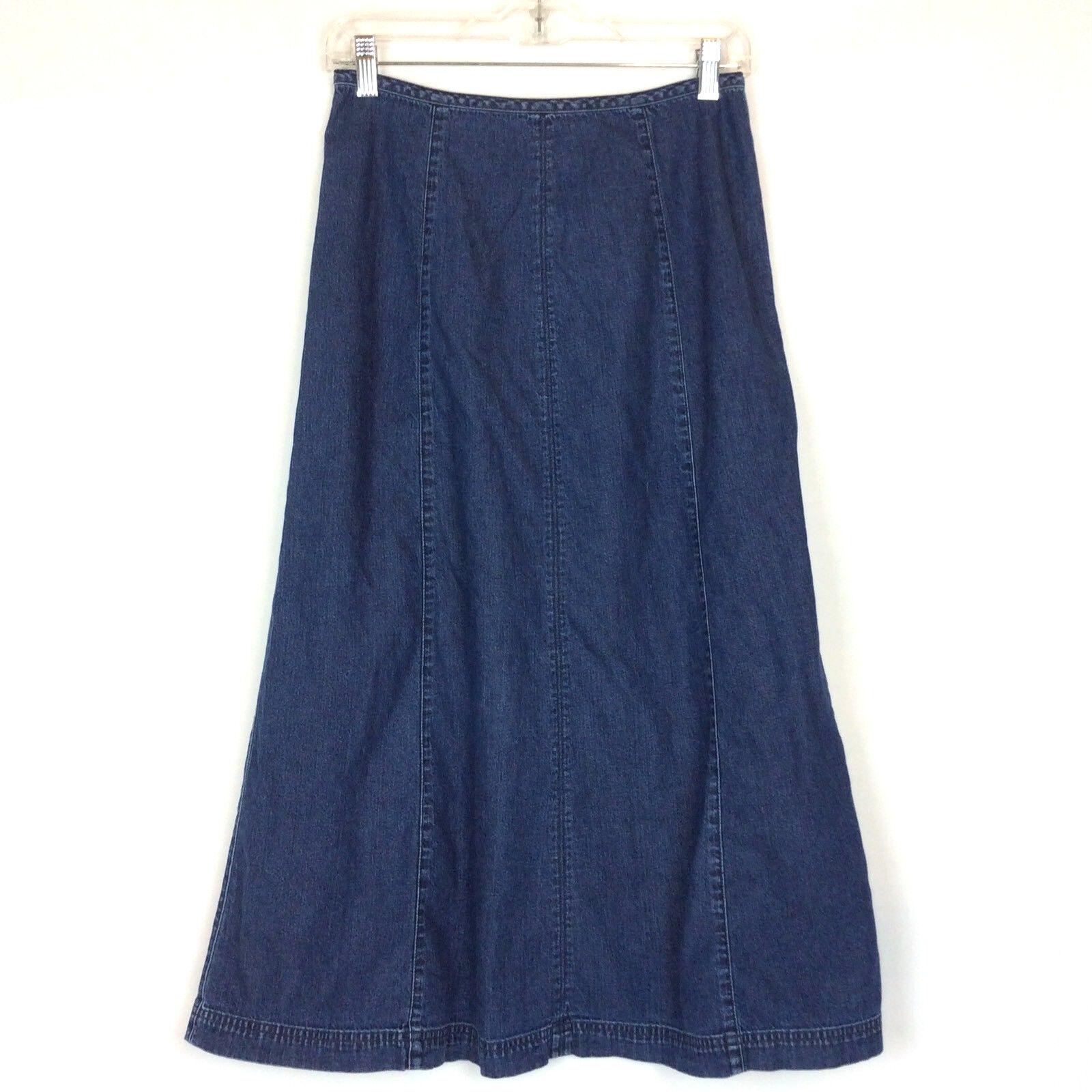 Lizwear Jeans Skirt Size 6 Dark bluee Denim A-Line Modest Mid Calf Liz Claiborne