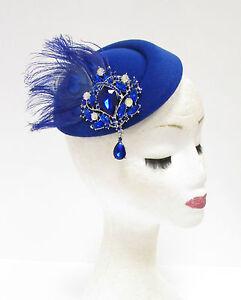 Royal Blue Silver Feather Pillbox Hat Headpiece Hair Fascinator Vtg ... 8b3dddad36f