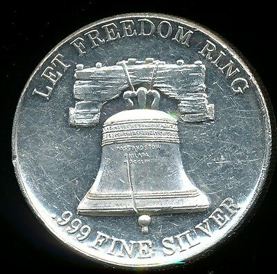 High Relief Liberty Bell Let Freedom Ring 1 Troy Oz .999 Fine Silver Coin Round