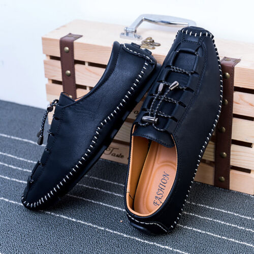 Men's Driving Loafer Heel Shoes Flat Leather Casual Fashion Lace up Shoes 3color