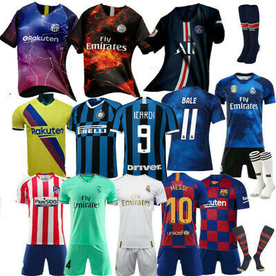 18//19//20 Football Outfit Kit Soccer Jersey Strips Training Suits For Kids Adults