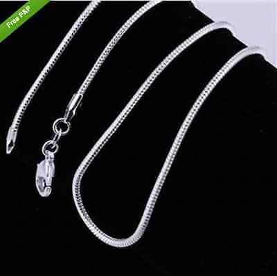 "925 Silver plated snake chain 1mm 30""long uk seller"