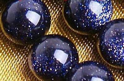 8mm Galaxy Staras Blue Goldstone Sun Sitara Loose Bead 15inch