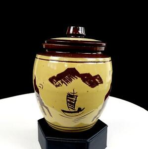 ASIAN-ART-POTTERY-TERRACOTTA-JUNK-SHIP-BUILDINGS-MOUNTAINS-5-1-4-034-JAR-WITH-LID