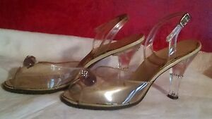 "Clear Lucite Shoes 1950s Sz 6-ish Embellished Heels Rhinestone MCM ""Custom Made"""