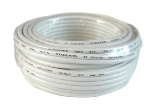 12 Gauge 25 Feet White Speaker Wire Zip Cable Copper Clad Car Audio Stereo