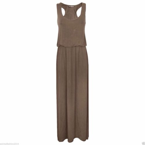 Maxi Dress Skirt Ladies Women Maxi Jersey Toga Racer Back Long Vest 8-10 12-14