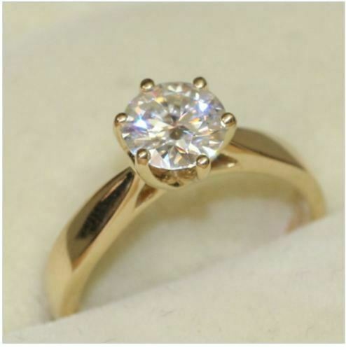 2.00 Ct Round Diamond Wedding Ring 14K Solid Yellow gold Rings Size 6 +0177