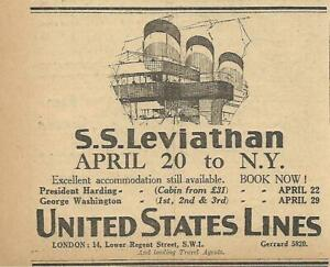 1926 THE S.S. LEVIATHAN OCEAN LINER OF THE UNITED STATES LINES ORIGINAL AD