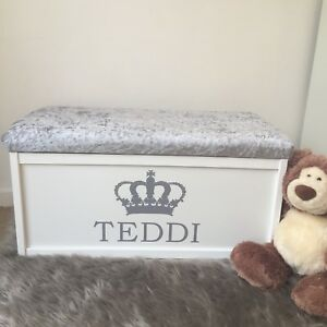 Personalised Toy Box Chest Cushion Bench Storage Ottoman