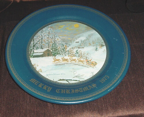 ARRIVAL OF SANTA CLAUS MERRY CHRISTMAS 1975 METAL TIN PLATE BY GRANDMA FRANKLIN